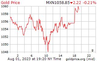 1 dag goud prijs per Gram in Mexicaanse Pesos