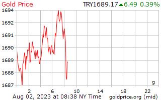 1 Day Gold Price per Gram in Turkish Lira
