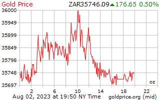 南アフリカ ・ ランドのオンスあたり 1 日ゴールドの価格