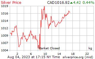 1 日シルバー カナダドルで 1 キロ当たり価格