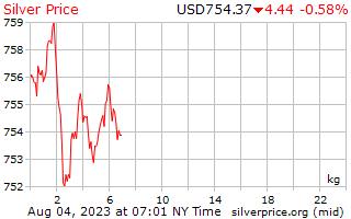 1 giorno in argento prezzo per chilogrammo in dollari USA